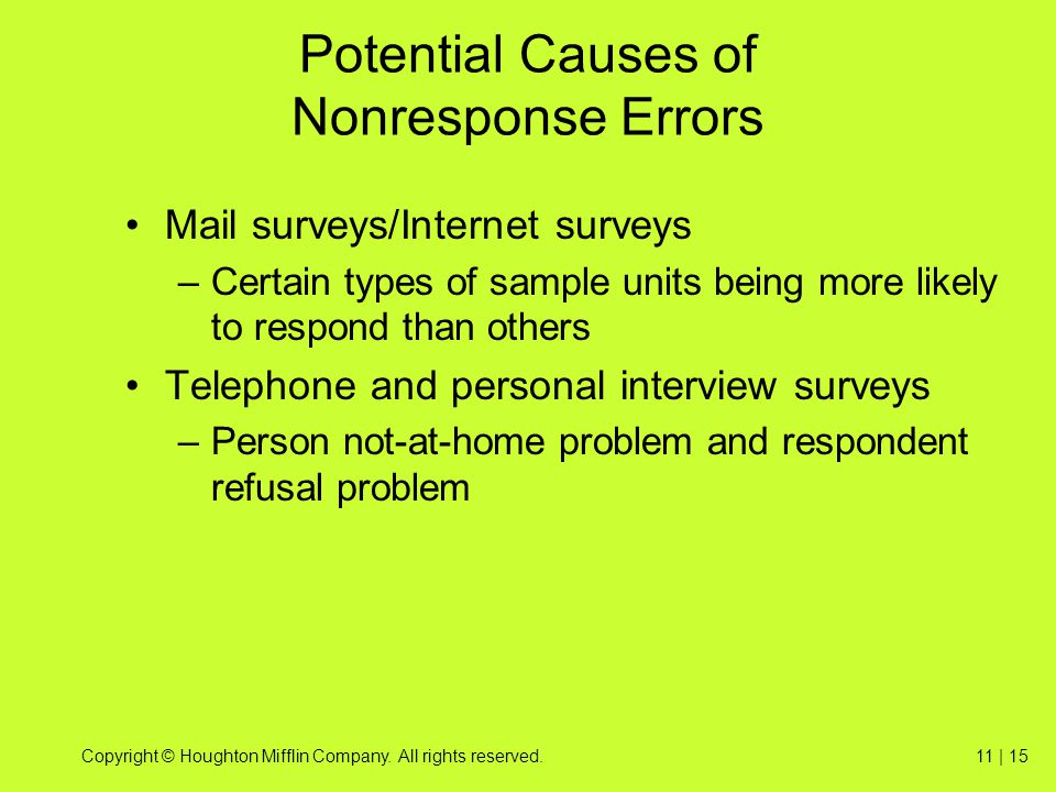Potential Causes of Nonresponse Errors