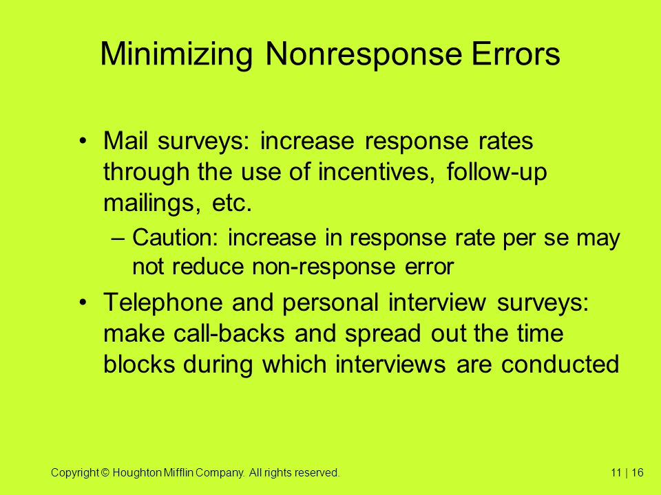 Minimizing Nonresponse Errors