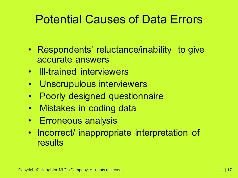 Potential Causes of Data Errors