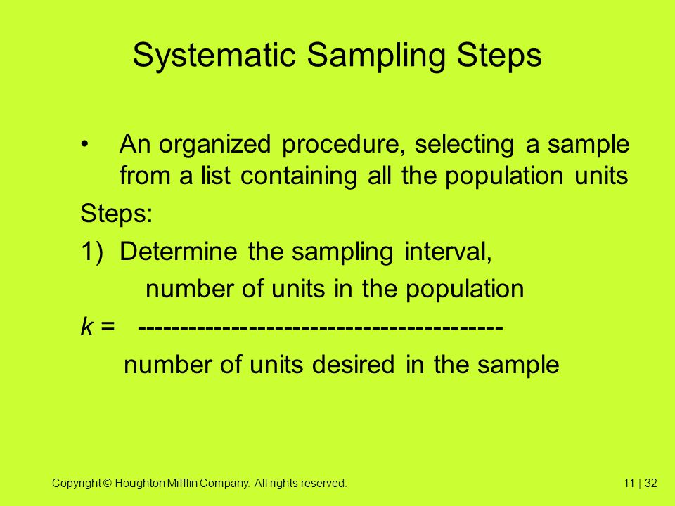 Systematic Sampling Steps