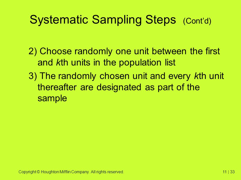 Systematic Sampling Steps (Cont'd)