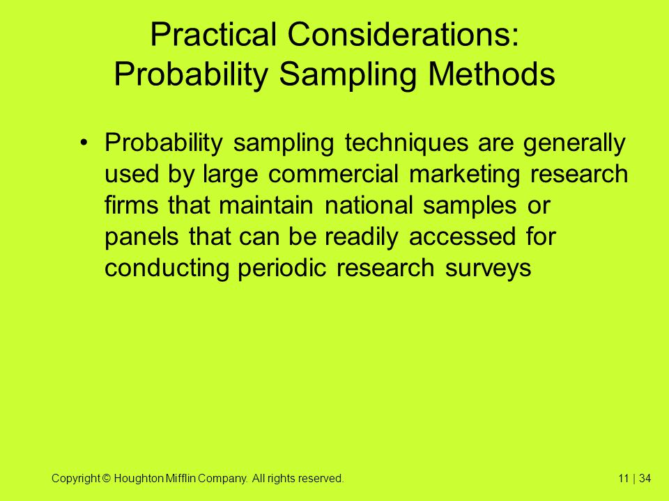 Practical Considerations: Probability Sampling Methods
