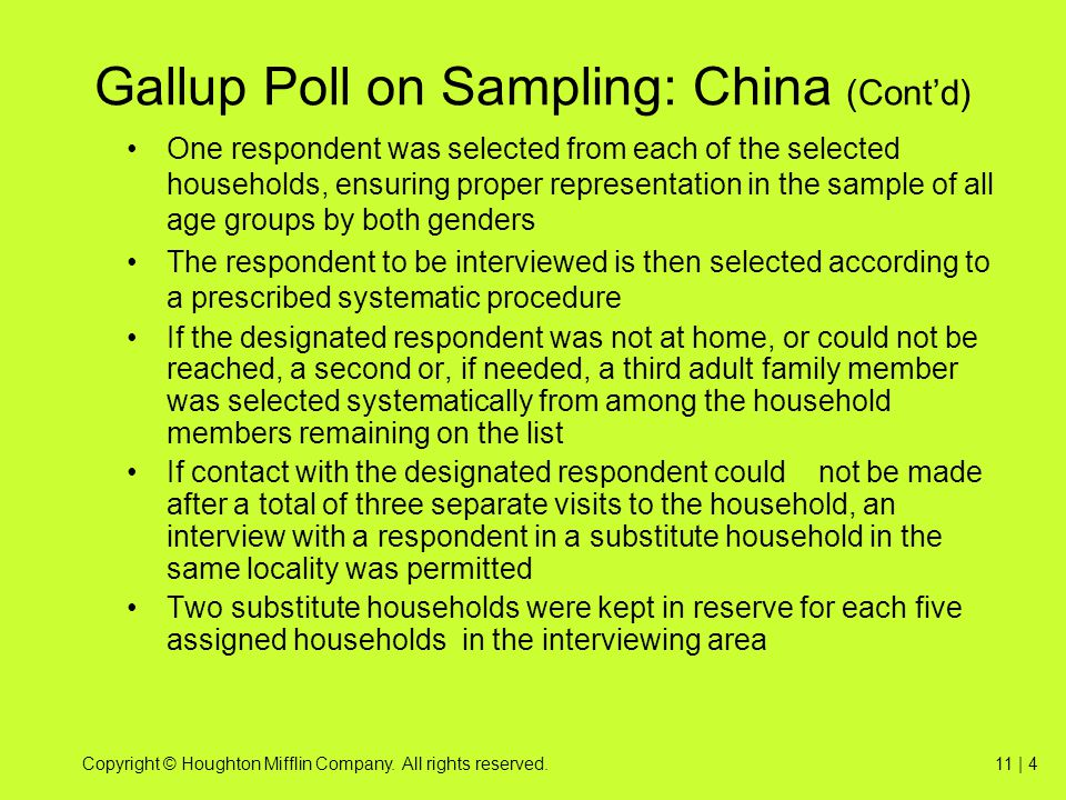 Gallup Poll on Sampling: China (Cont'd)