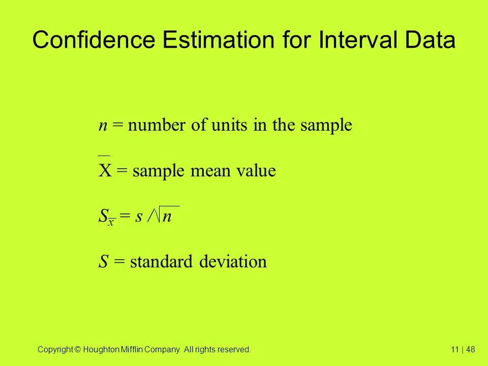 Confidence Estimation for Interval Data
