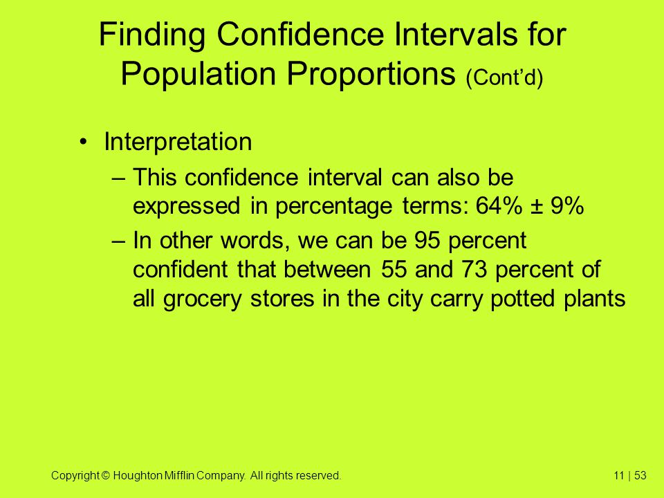 Finding Confidence Intervals for Population Proportions (Cont'd)