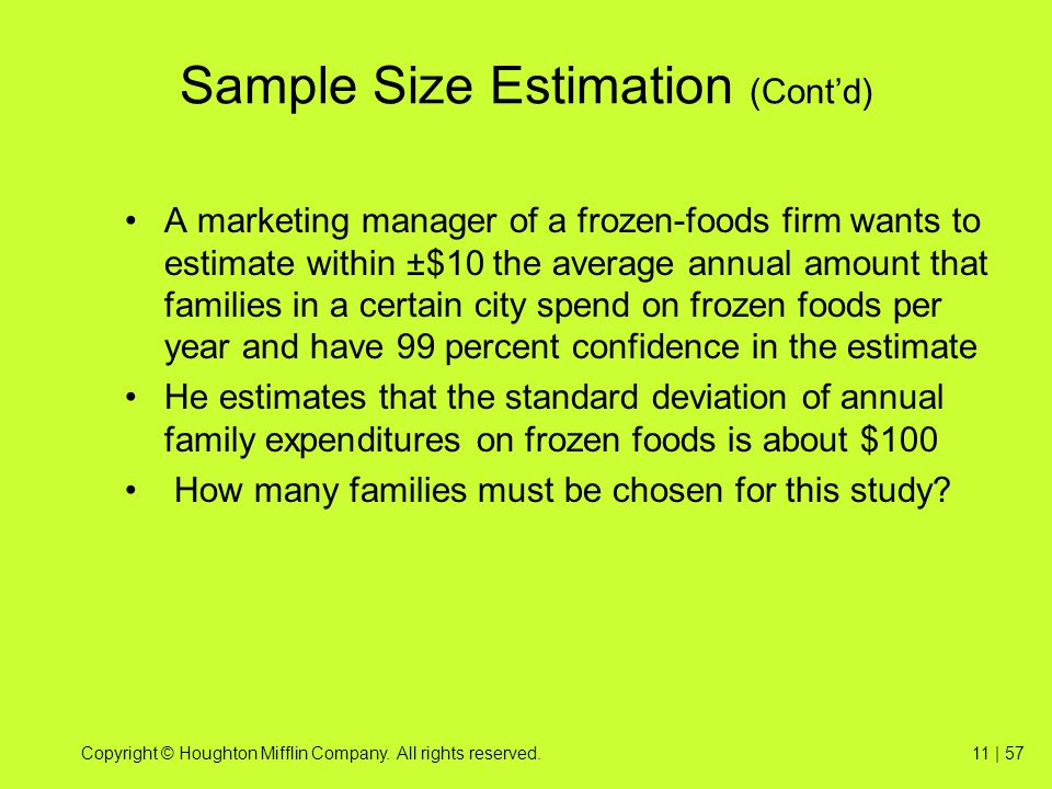 Sample Size Estimation (Cont'd)