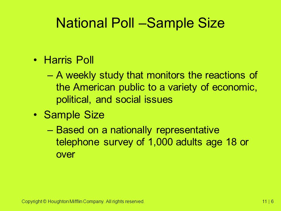 National Poll –Sample Size