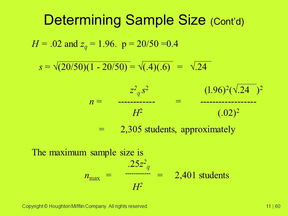 Determining Sample Size (Cont'd)