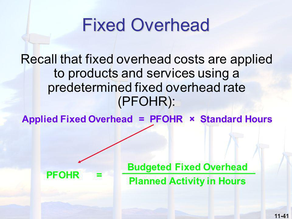 Budgeted Fixed Overhead Planned Activity in Hours