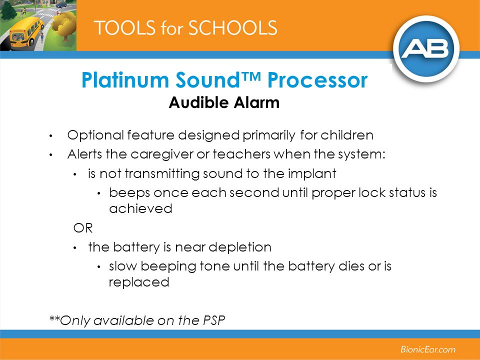 Platinum Sound™ Processor Audible Alarm