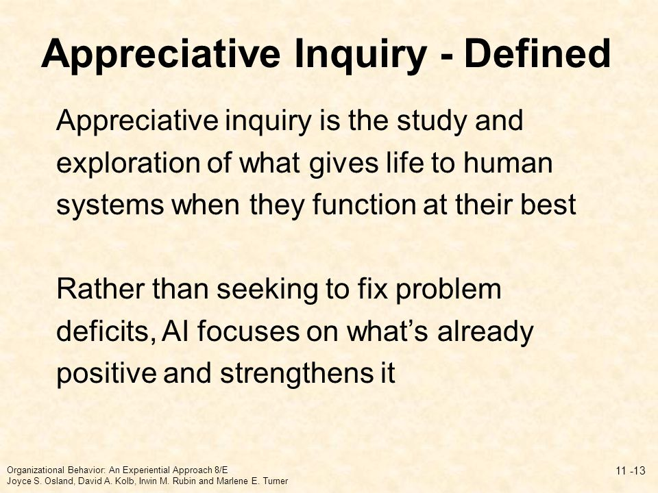 Appreciative Inquiry - Defined