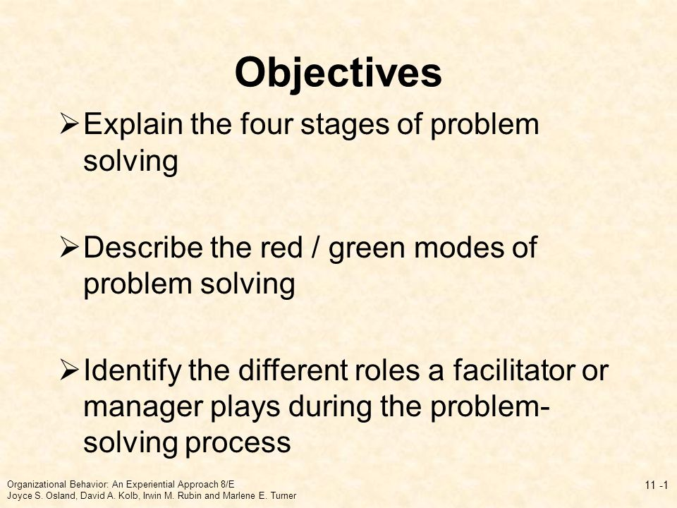 Objectives Explain the four stages of problem solving