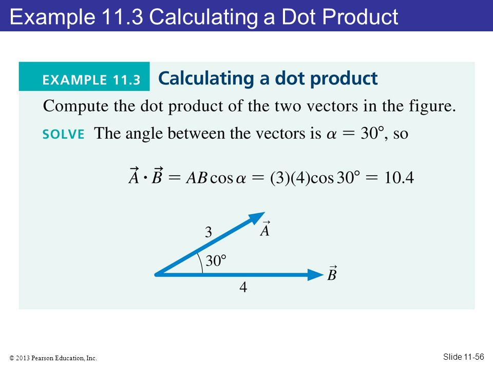 Example 11.3 Calculating a Dot Product