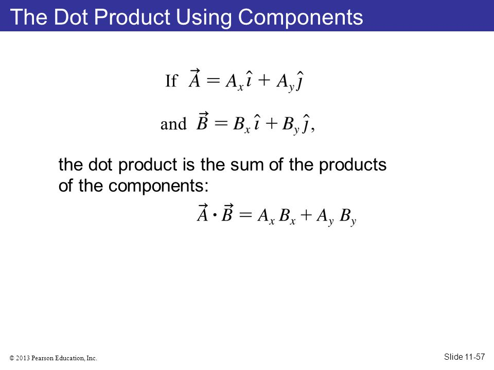 The Dot Product Using Components