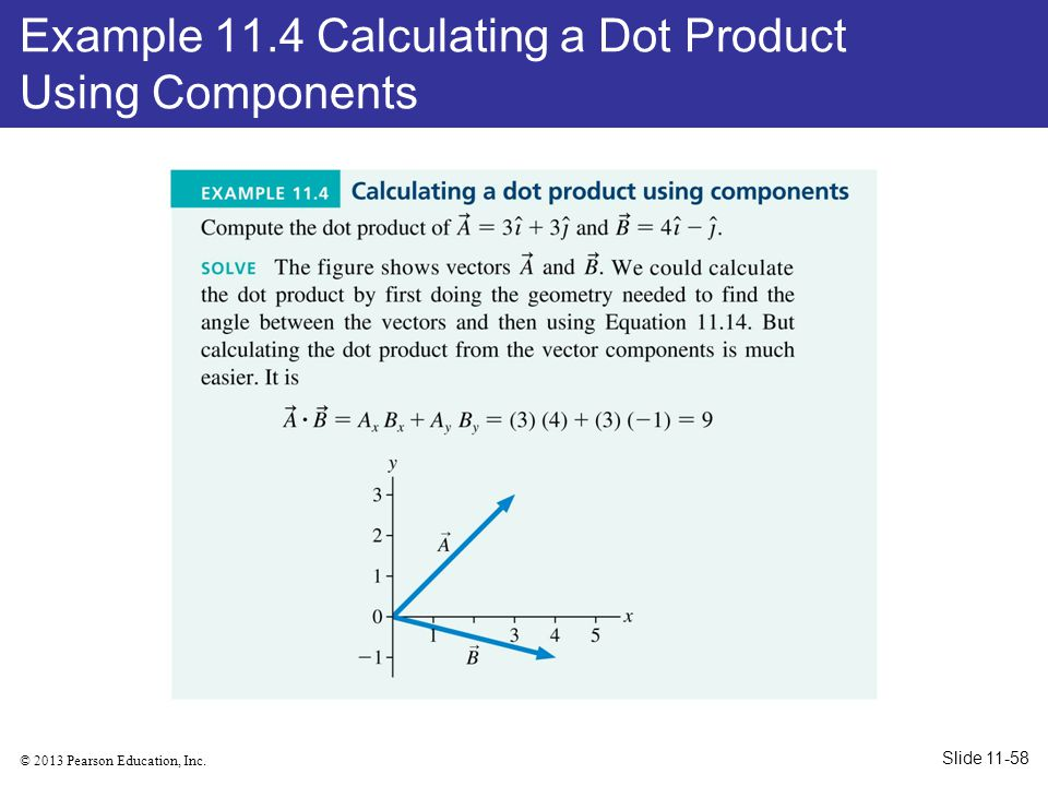 Example 11.4 Calculating a Dot Product Using Components