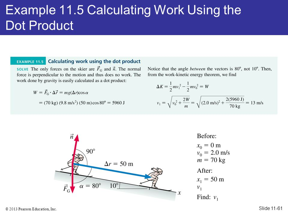 Example 11.5 Calculating Work Using the Dot Product