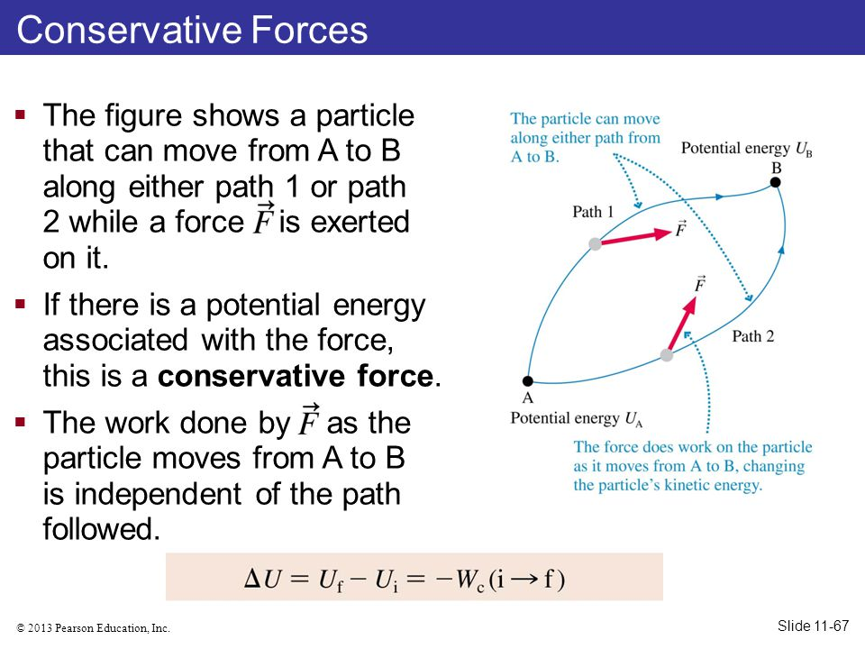 Conservative Forces The figure shows a particle that can move from A to B along either path 1 or path 2 while a force is exerted on it.