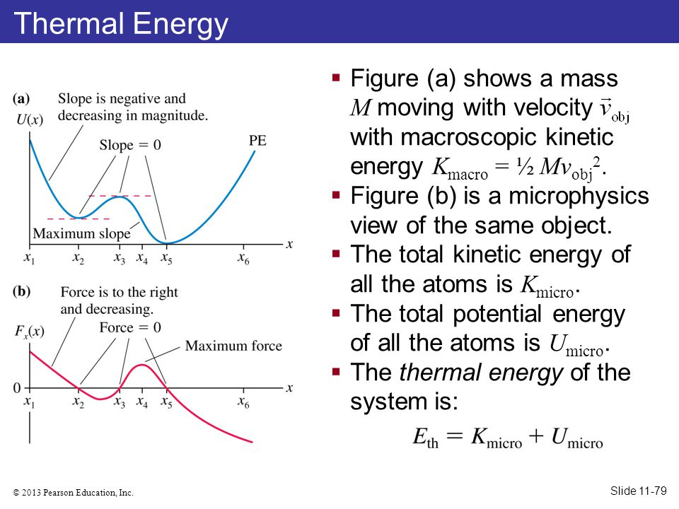 Thermal Energy Figure (a) shows a mass M moving with velocity with macroscopic kinetic energy Kmacro = ½ Mvobj2.