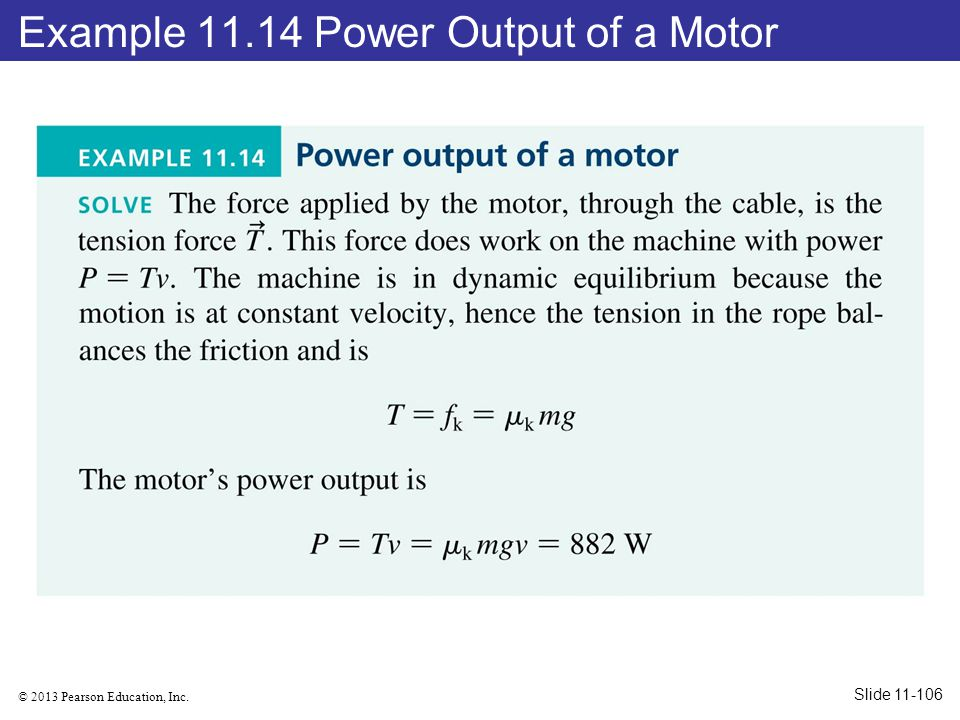 Example 11.14 Power Output of a Motor
