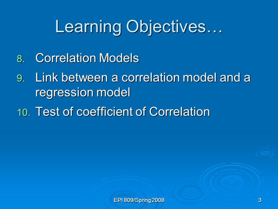 Learning Objectives… Correlation Models