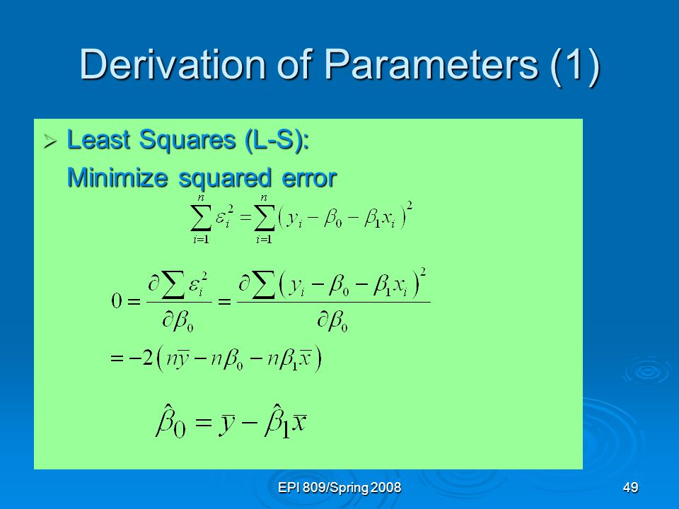 Derivation of Parameters (1)
