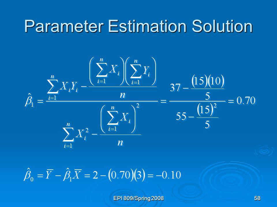 Parameter Estimation Solution