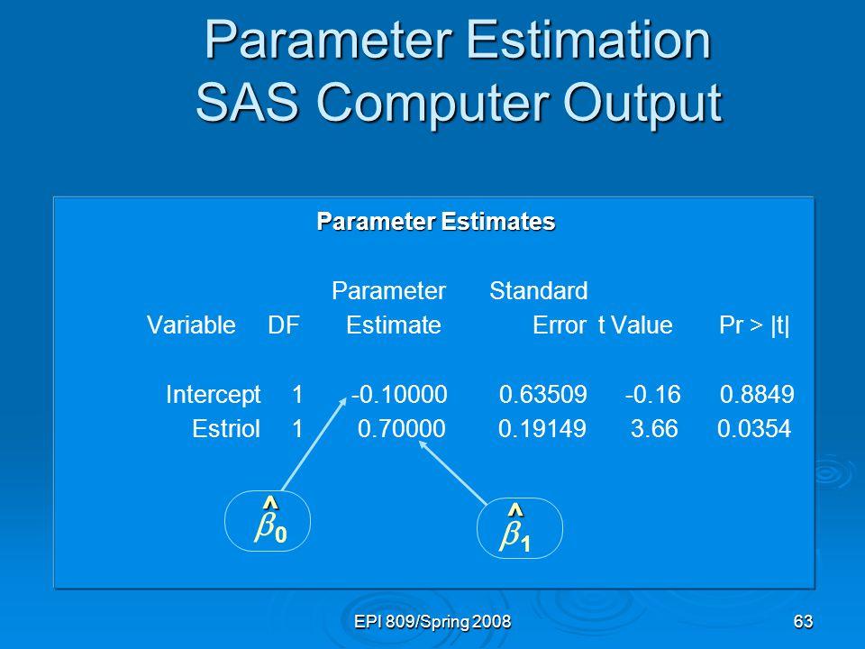 Parameter Estimation SAS Computer Output