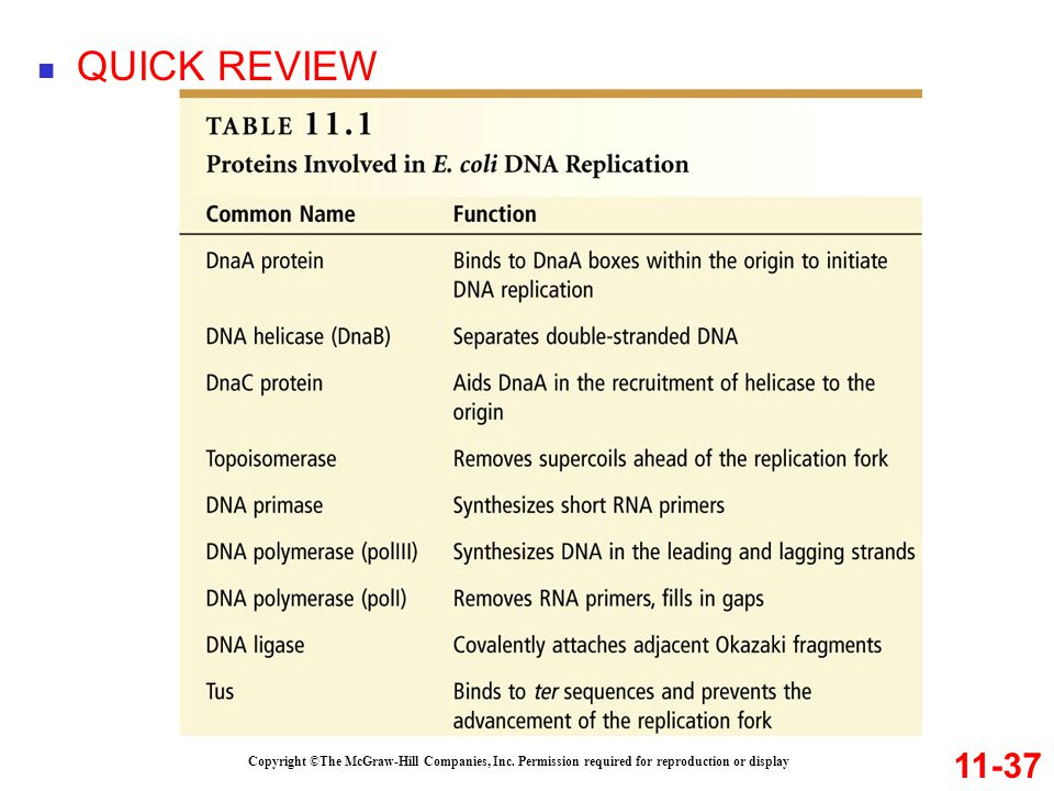 QUICK REVIEW 11-37. Copyright ©The McGraw-Hill Companies, Inc.