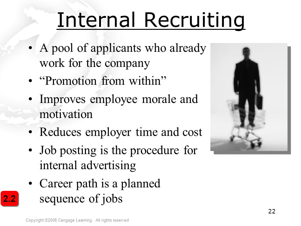 Internal Recruiting A pool of applicants who already work for the company. Promotion from within