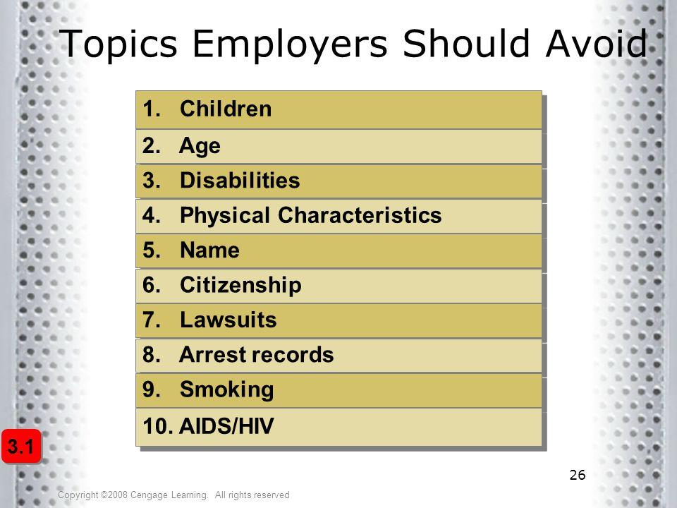 Topics Employers Should Avoid