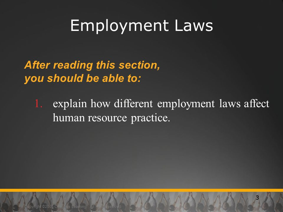 Employment Laws After reading this section, you should be able to: explain how different employment laws affect human resource practice.