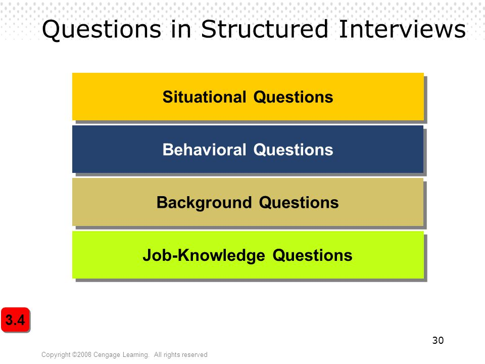 Questions in Structured Interviews