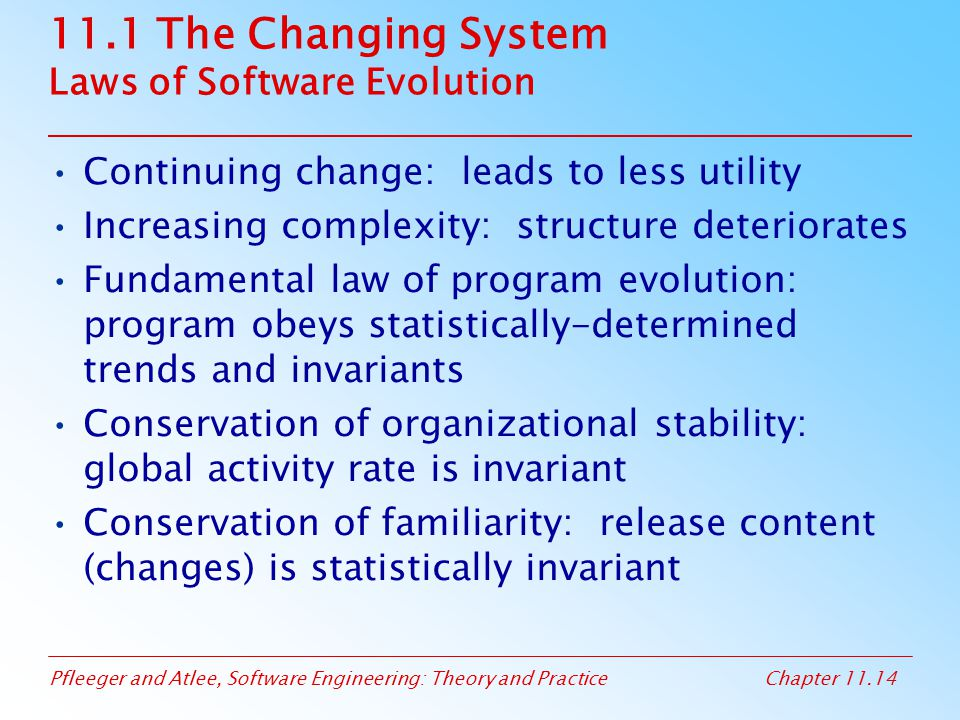 11.1 The Changing System Laws of Software Evolution