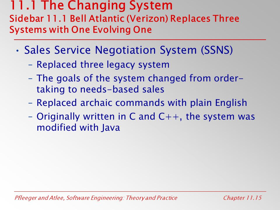 11. 1 The Changing System Sidebar 11