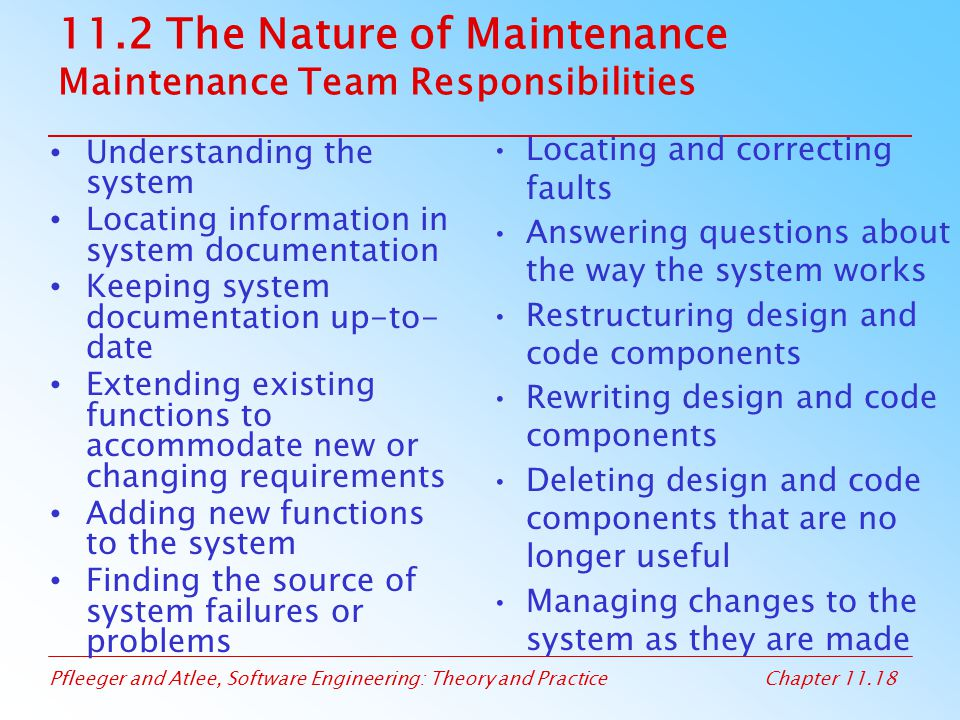 11.2 The Nature of Maintenance Maintenance Team Responsibilities