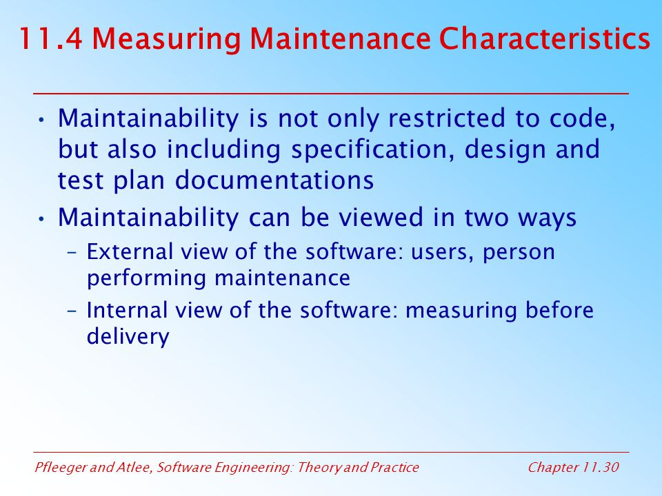 11.4 Measuring Maintenance Characteristics