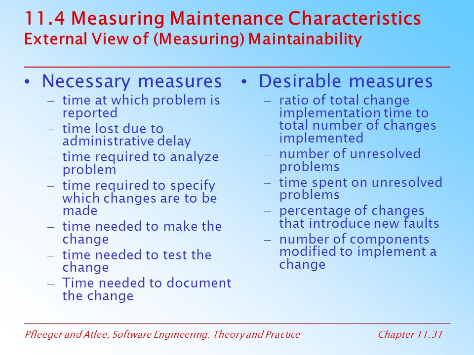 11.4 Measuring Maintenance Characteristics External View of (Measuring) Maintainability