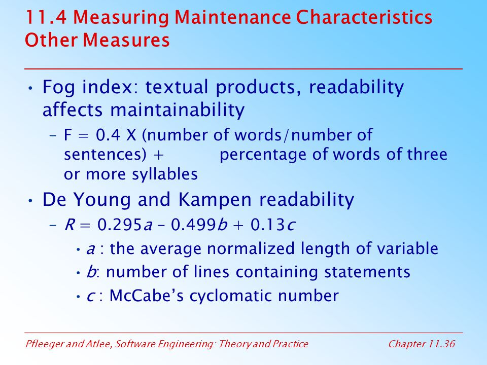 11.4 Measuring Maintenance Characteristics Other Measures