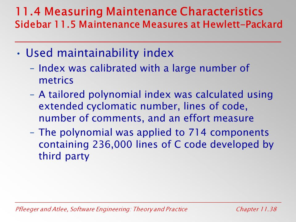 Used maintainability index