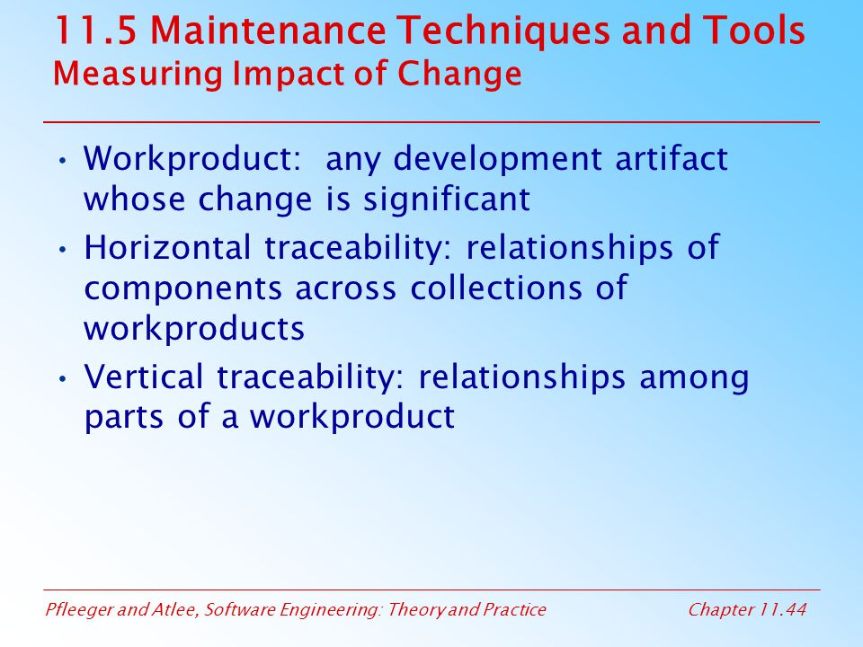 11.5 Maintenance Techniques and Tools Measuring Impact of Change