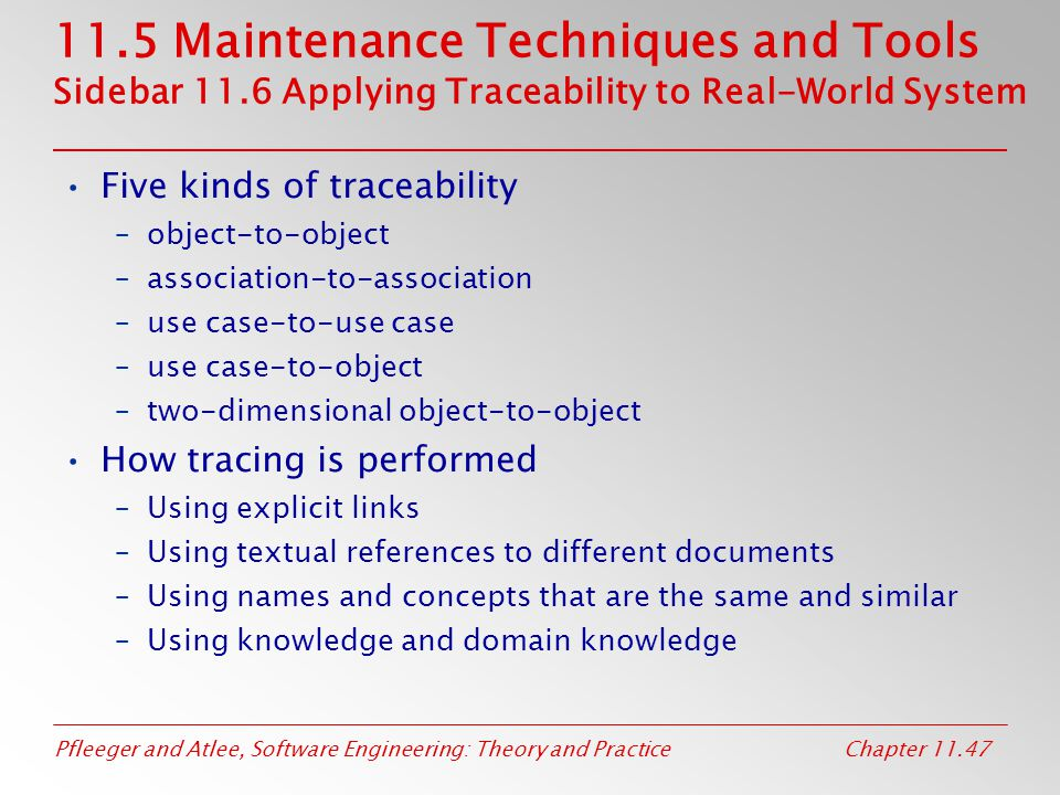 11. 5 Maintenance Techniques and Tools Sidebar 11