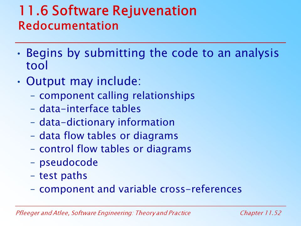 11.6 Software Rejuvenation Redocumentation