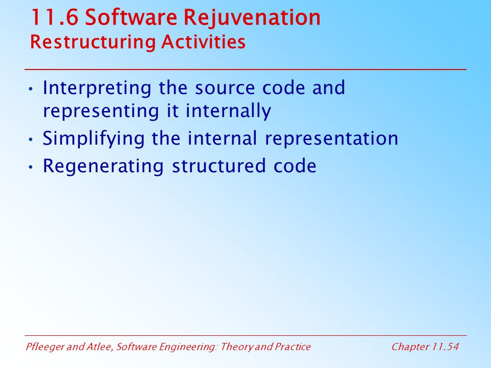 11.6 Software Rejuvenation Restructuring Activities