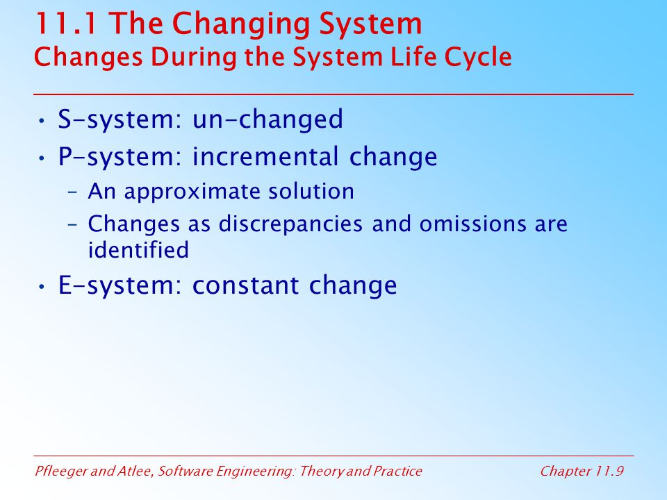 11.1 The Changing System Changes During the System Life Cycle
