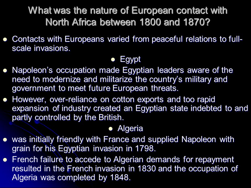 What was the nature of European contact with North Africa between 1800 and 1870