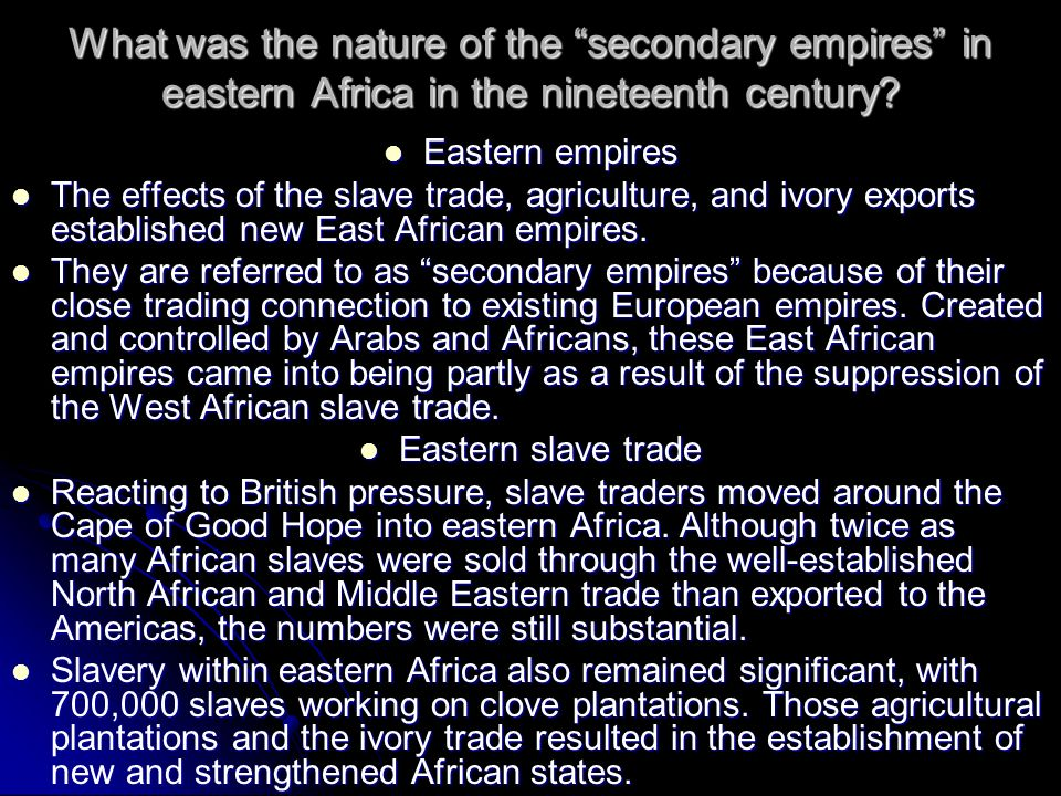 What was the nature of the secondary empires in eastern Africa in the nineteenth century