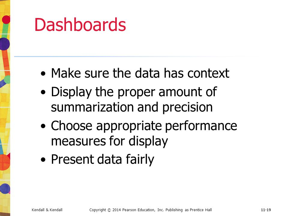 Dashboards Make sure the data has context