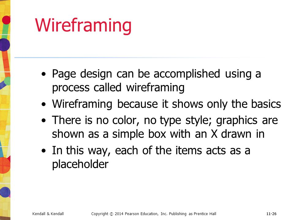 Wireframing Page design can be accomplished using a process called wireframing. Wireframing because it shows only the basics.