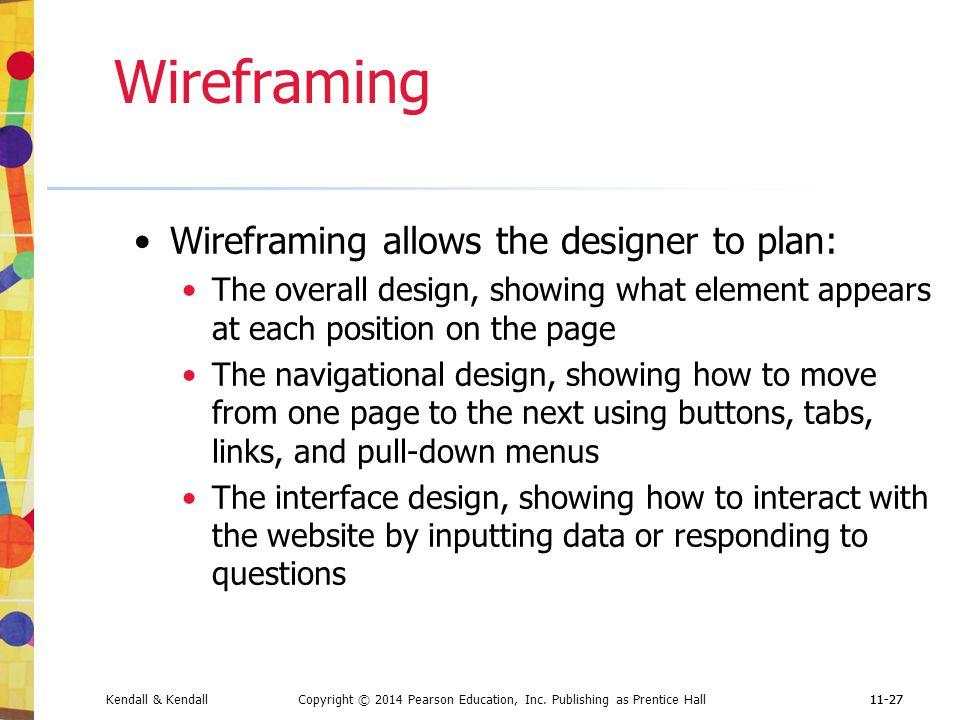 Wireframing Wireframing allows the designer to plan:
