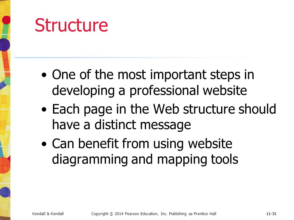 Structure One of the most important steps in developing a professional website. Each page in the Web structure should have a distinct message.